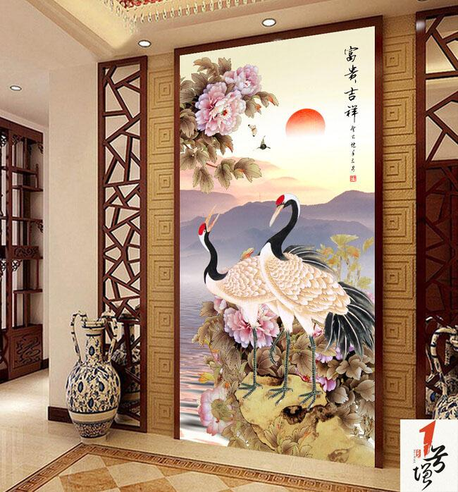 玄关背景墙-中式玄关-富贵吉祥牡丹画国画仙鹤图玄关