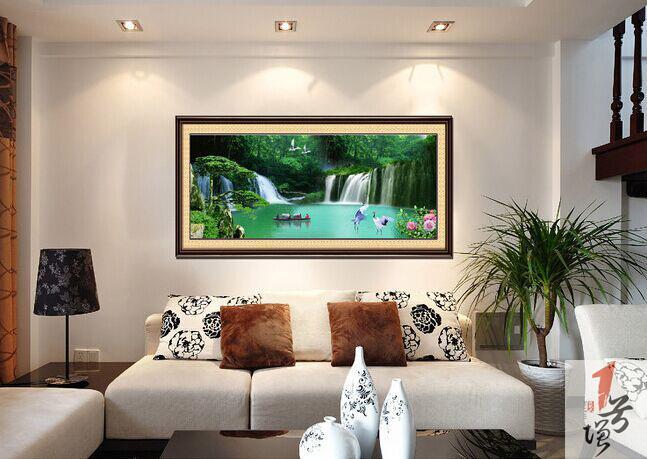客厅背景墙-电视背景墙-风景背景墙-产品名称:山水壁画