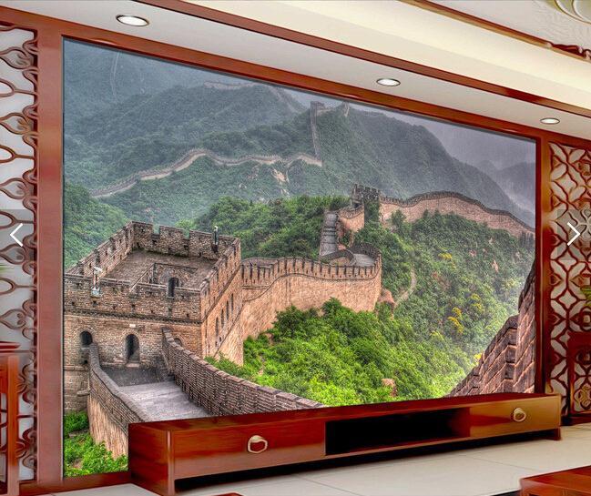酒店大堂背景墙 中式万里长城风景壁画背景墙