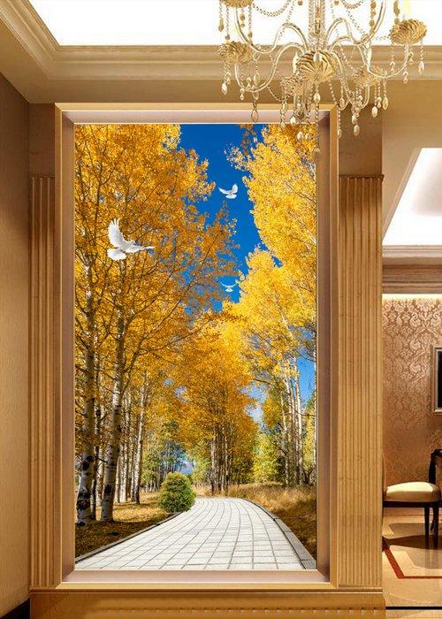过道玄关背景墙、唯美林间道路白鸽蓝天玄关背景墙