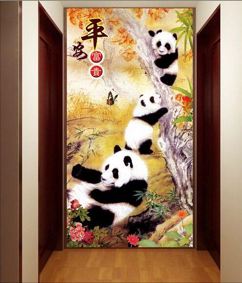 过道玄关背景墙、熊猫工笔玄关过道背景墙