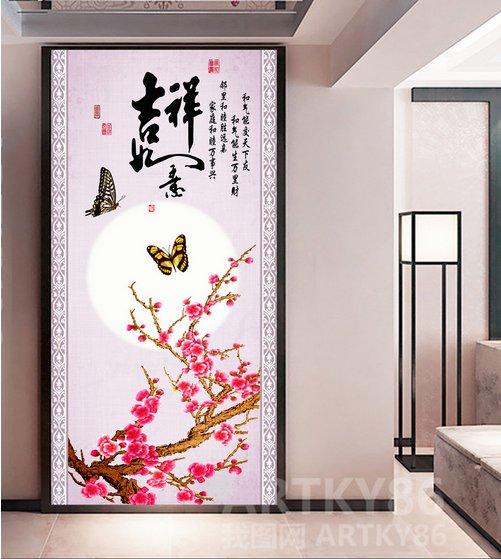 过道玄关背景墙、中国风梅花蝴蝶玄关过道背景墙